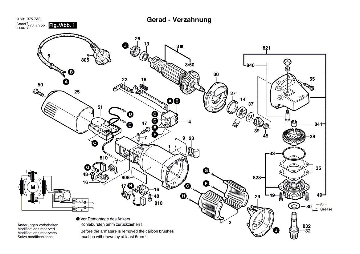 Gws 6 115 E Teknik Resim Bosch Yedek Parca Bobinaj